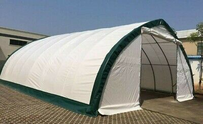 30x65x15 Canvas Fabric Tarp Storage Building Shop Shelter Metal Frame Garage New