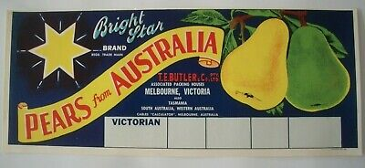 Vintage Apple Box Label Long Bright Star Pear Victoria Stamping Boxes Australia