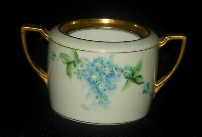 Nippon Hand Painted Blue Forget Me Knots Sugar Bowl