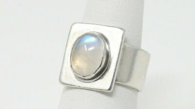 Vintage Native American Signed EH Moonstone Square Sterling Silver Ring Sz 7.25
