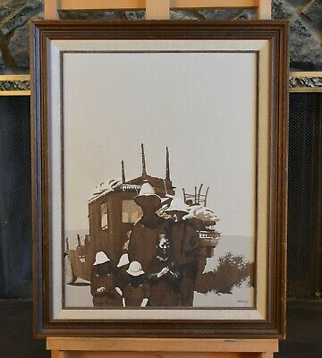 "Robert Martin Harvey 1924-2004 - Oil Painting ""The Depression"" Old Photo Genre"