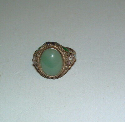 Antique Chinese Silver Green Jade & Enamel High Setting Ladys Ring Size 4 3/4