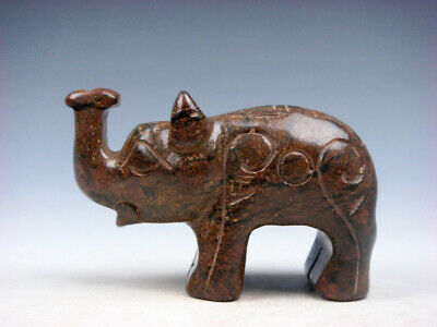 Old Nephrite Jade Stone Carved Sculpture Standing Elephant w/ Nose Up #12291905