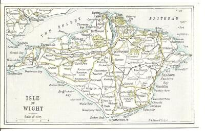 Genuine Rare Vintage Postcard,Map Of The Isle Of Wight,1922