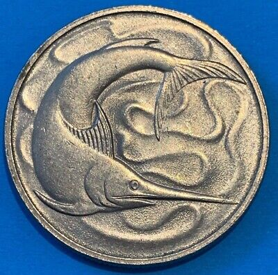 1977 Singapore 20 Cents Swordfish Coin High Grade