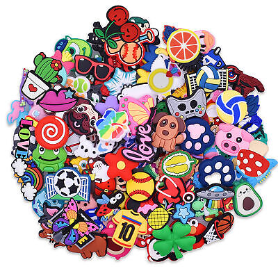 US Stock 100pcs Soft Shoe Charms Adapts fit Hole Clogs/Bag For Kids Child Gifts