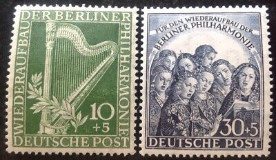 Berlin 1950 Philharmonic Orchestra Set Of 2 Stamps Mint Hinged