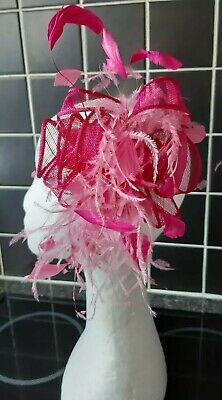 Wedding, Day at the Races Cerise Pink Hair Comb Slide Fasinator. Excellent cond.