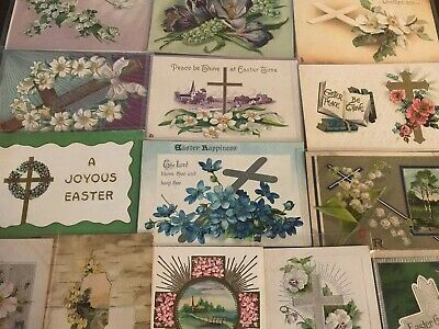 "LOT of 15 BEAUTIFUL Antique~"" EASTER CROSSES"" with Flowers CROSS POSTCARDS-p671"