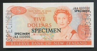 New Zealand: 1981 $5 Hardie SPECIMEN,  Type II, UNC, JAA 000000, VERY RARE