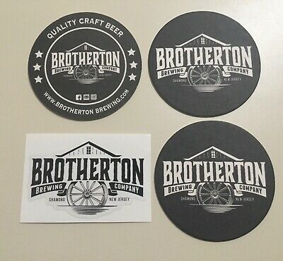 4 Shamong NJ Brotherton Brewing Co Beer 3 Coasters & Sticker Sign Microbrewery