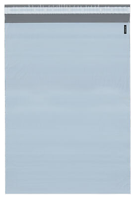 """Plymor Poly Mailer White/Gray Bag w/ Closure & Strip, 14.5"""" x 19"""" (Pack of 250)"""