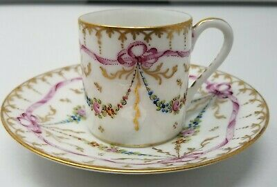 Sevres Style Demitasse Cup & Saucer - Bows, Flowers and Gold