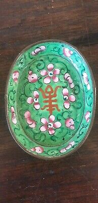 Antique Chinese Hand Painted Canton Enamel green turquoise over Copper Pin Dish