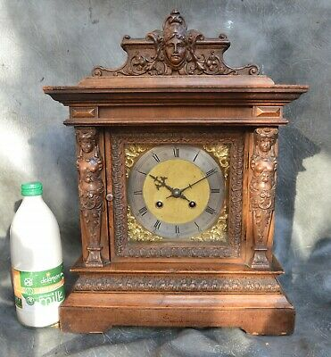 A LOVELY CARVED MAHOGANY GONG STRIKE MANTLE CLOCK c1910 *DEADBEAT ESCAPEMENT*