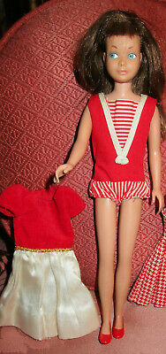 VTG SKIPPER DOLL BRUNETTE BARBIE'S SISTER in ORIG OUTFIT SHOES STRAIGHT LEG 1963