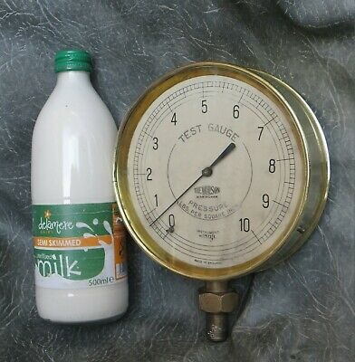 A GOOD QUALITY 6 INCH BRASS CASED THE WORSON PRESSURE GUAGE 0-10 LBS c1940