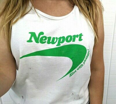 Vintage Newport Cigarettes Tank Top Green Alive With Pleasure Logo Size Large