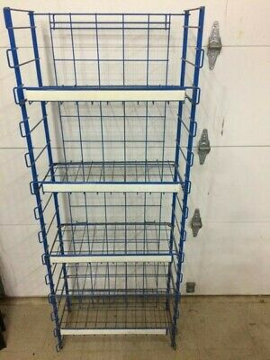 Vintage Blue Wire Store Display Rack Stand Shop Commerical Rack
