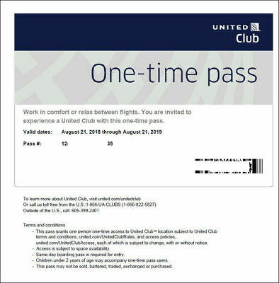 Two (2) United Airlines Club One-Time Passes Expires 4/14/2021 Email Delivery