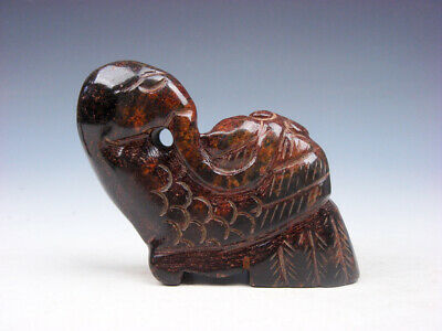 Old Nephrite Jade Stone Carved Sculpture Phoenix Bird Fixing Feathers #08021910