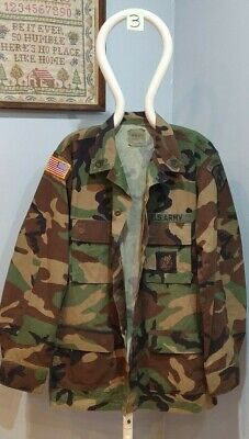 US ARMY WOODLAND CAMO BDU SHIRT W PATCHES BADGES 31st INFANTRY DIVISION MED//LRG