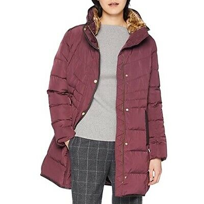 Cole Haan Signature Women's Hooded Quilted Winter Down Puffer Coat Merlot Size M