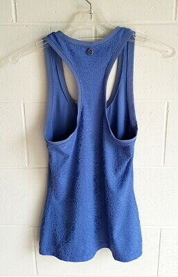 """Lorna Jane"" Ec, Size Xs (8) Blue Textured Racer-Back Sports / Active Top"