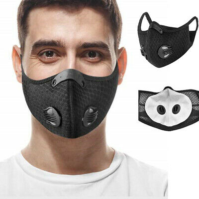 5 x Washable Half Face Shield Activated Carbon Filter Nose Mouth Cover Dustproof