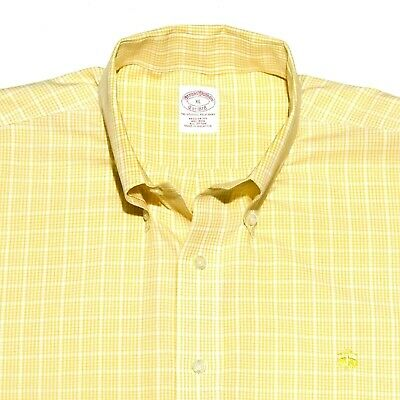 Brooks Brothers Men's XL Non-Iron Embroidered Gold Lamb Regular Fit Goldenrod