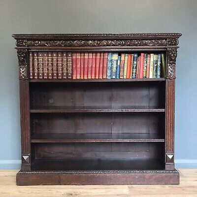 ANTIQUE CARVED OAK GREEN MAN OPEN BOOKCASE LIBRARY BOOKCASE 4ft WIDE