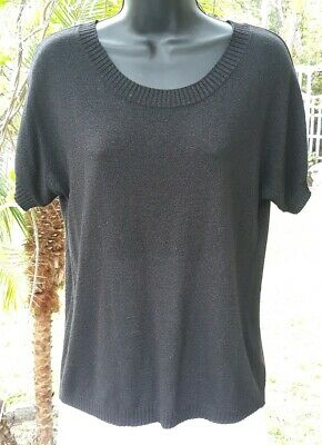 Old Navy Black Metallic Thread Short Sleeve Top - Size SP