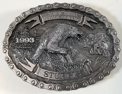 Vtg Sturgis Black Hills Cycle Classic 1993 Belt Buckle Motorcycle South Dakota