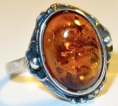 GORGEOUS Antique STERLING SILVER Poland RING w/AMBER STONE~SIZE 8.75~LOT #1! NR!