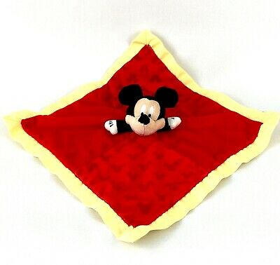 """Disney Lovey Blanket Mickey Mouse Baby Toddler Red Yellow 15"""" Square"""
