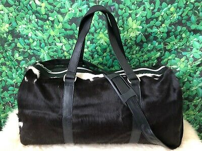 Cowhide Black Leather Duffel Bag Natural Cow Skin Fur Weekender Travel Gym Bag