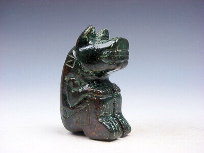 Old Nephrite Jade Stone Carved Sculpture Ancient Dragon Head Monster #04092005