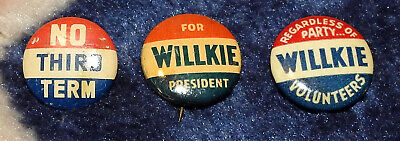 3 Vintage 1940 Willkie Campaign Pins Rare Pinback Button