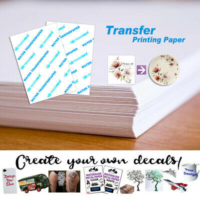 A4 Inkjet Water Slide Decal Paper Sheets White and Clear 1/5/10/20 Sheets