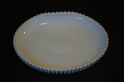 Vintage Milk Glass Serving Tray Upturned Back Handle Ribbed Pattern 7""