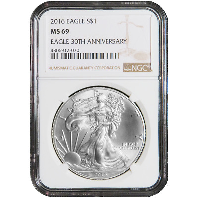 2016 $1 American Silver Eagle NGC MS69 Brown Label