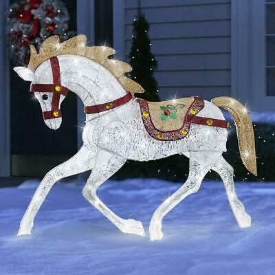 Hammacher CHRISTMAS HOLIDAY WHITE LED LIGHT UP CAROUSEL HORSE INDOOR/OUTDOOR