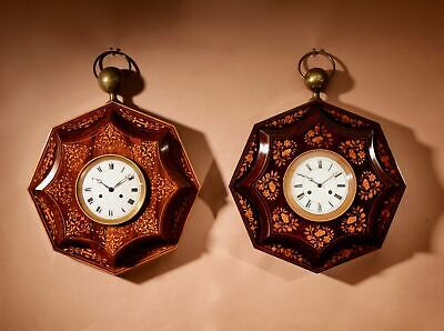 Two Very Decorative Rosewood Inlaid with Lemon Wood French Wall Clocks