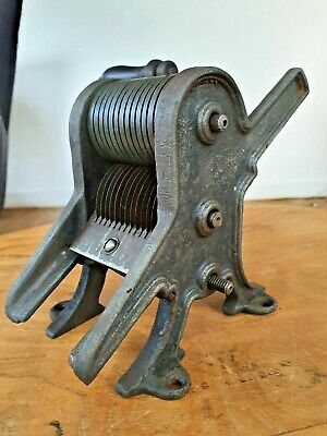 19c collectible cast iron pasta maker with turned wooden handle