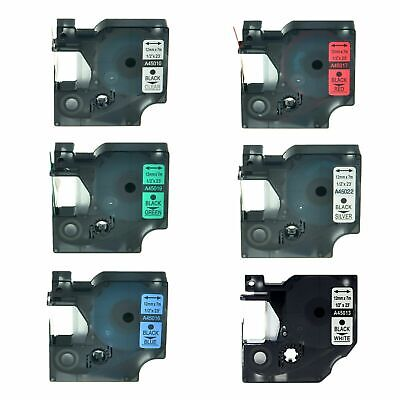 6PK 45010 45013 45016 45017 45019 45022 Label Tape For Dymo D1 LabelManager 12mm