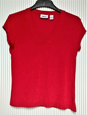 CHICO'S TRAVELERS              Size-1               RED SHORT SLEEVE ACETATE TOP