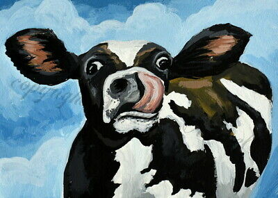 Folk Art aceo Print of painting cow funny face country humor cute farm animal DC