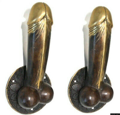 "2 DOOR PULL or HOOK medium heavy erect penis hand made brass 7 "" handle heavy B"