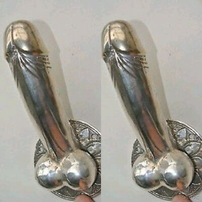 "2 small SILVER penis DOOR PULL HOOK  hollow heavy brass 7 "" handle hand made B"