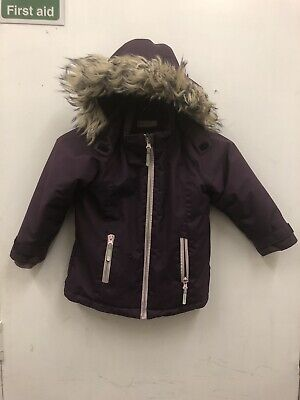 H&M Purple Hooded Parka Girls Age 2-3Years Detachable Fur Hood